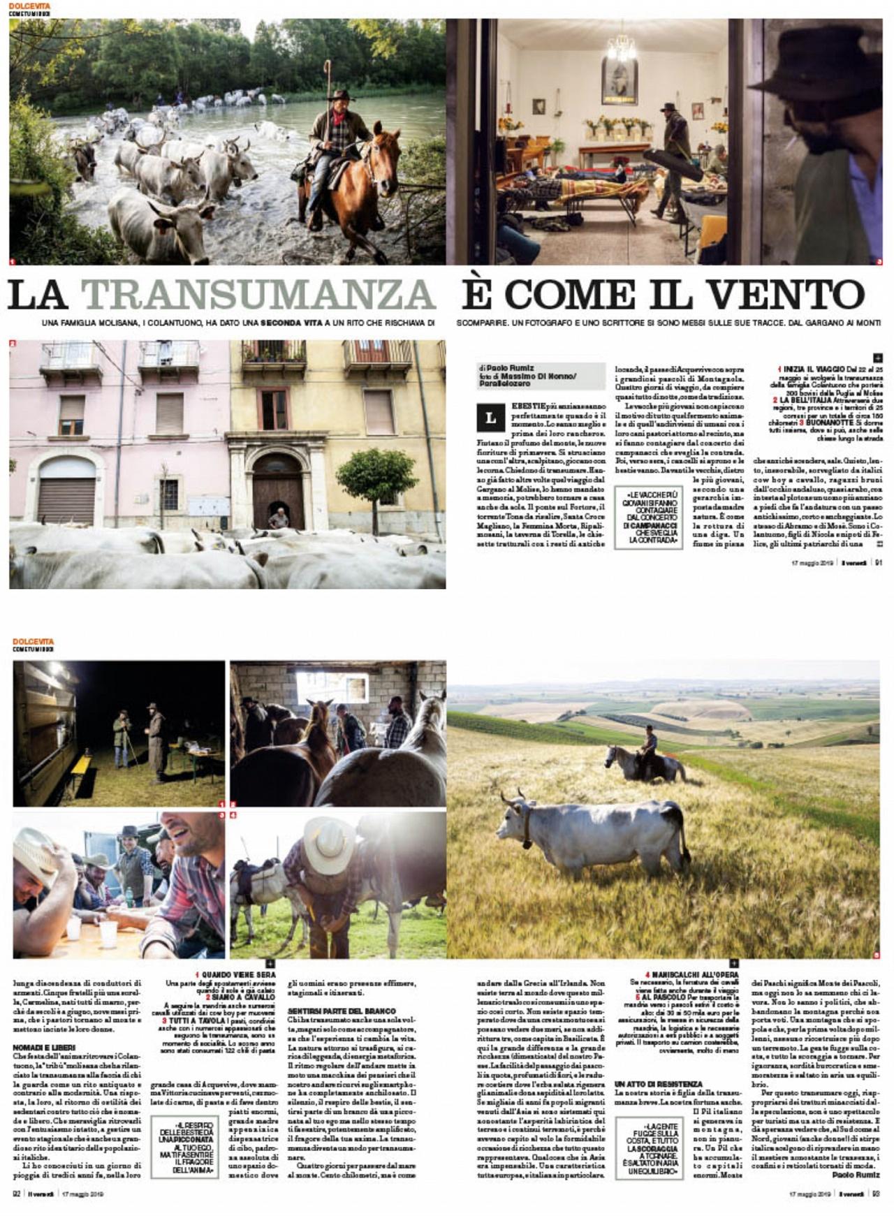 La transumanza è come il vento. - On Il Venerdì weekly magazine of La Repubblica (2019)